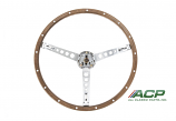 1965-1966 Ford Mustang Steering Wheel Deluxe Woodgrain Wheel W/ Kit New Repro