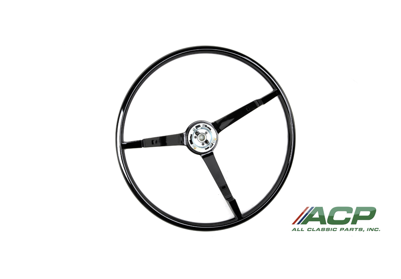 1965-1966 Ford Mustang Standard Steering Wheel Black New Reproduction