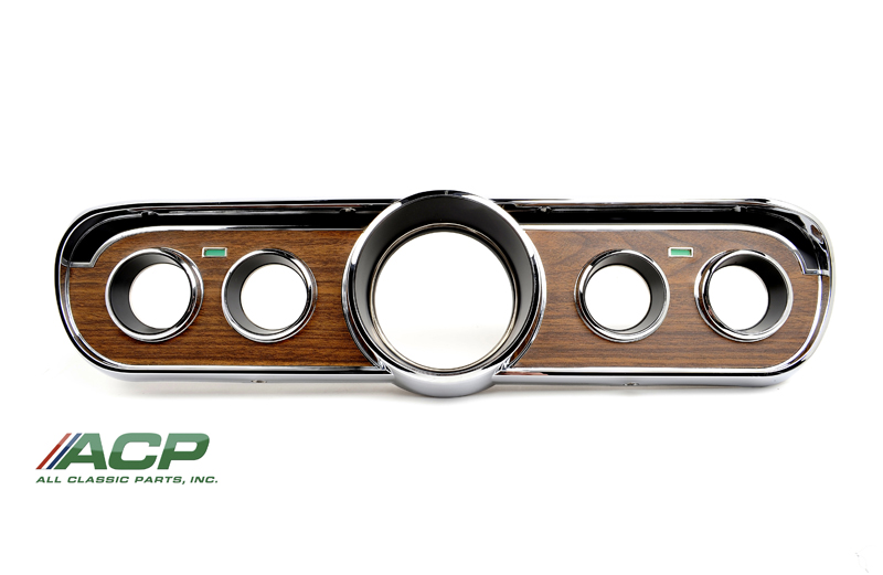 1965-66 Ford Mustang Metal Backed Woodgrain Instrument Bezel Deluxe New