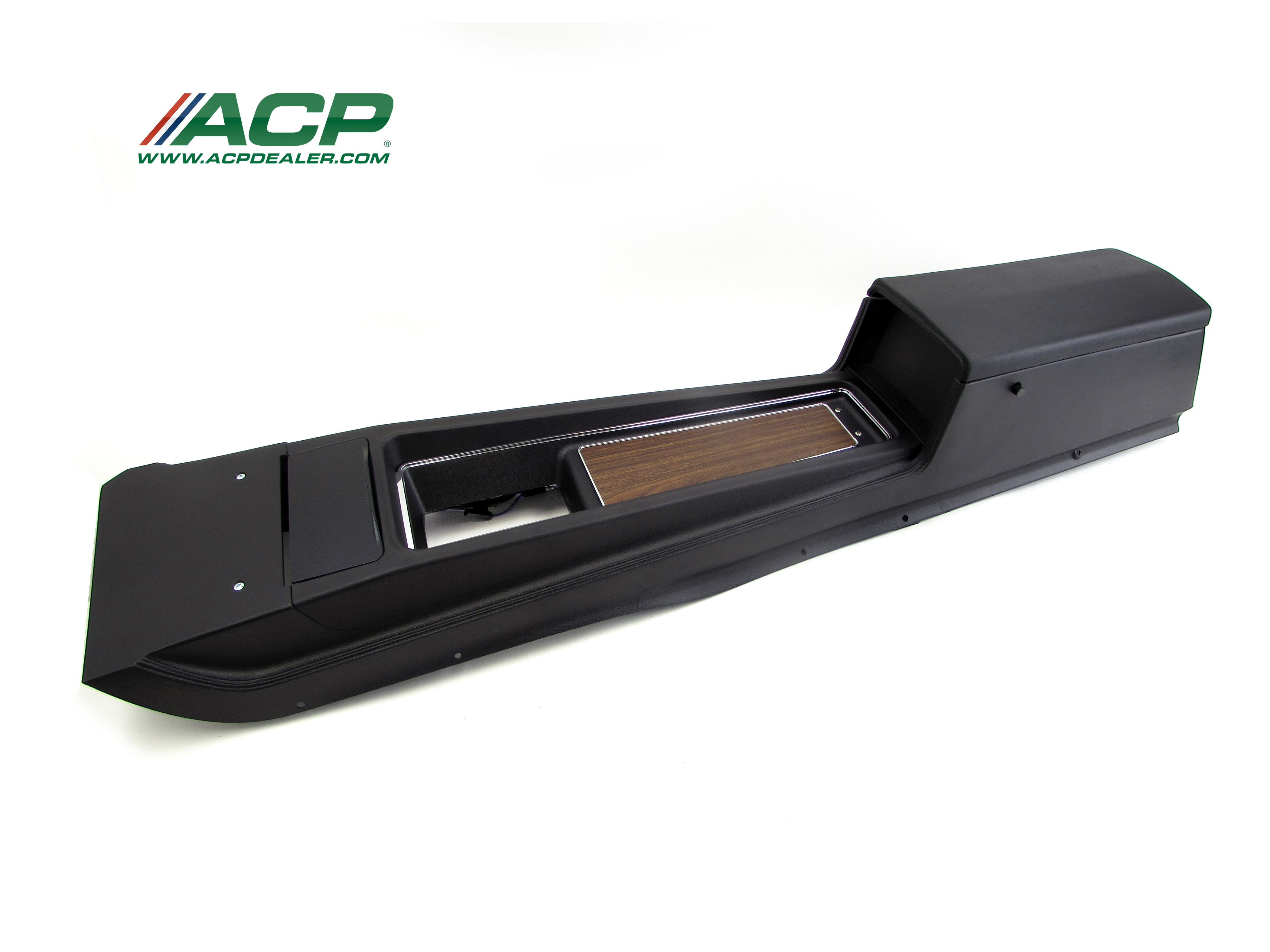 1970 Mustang Console Assembly  New Reproduction W Auto Transmission Black in Color W/Woodgrain Insert