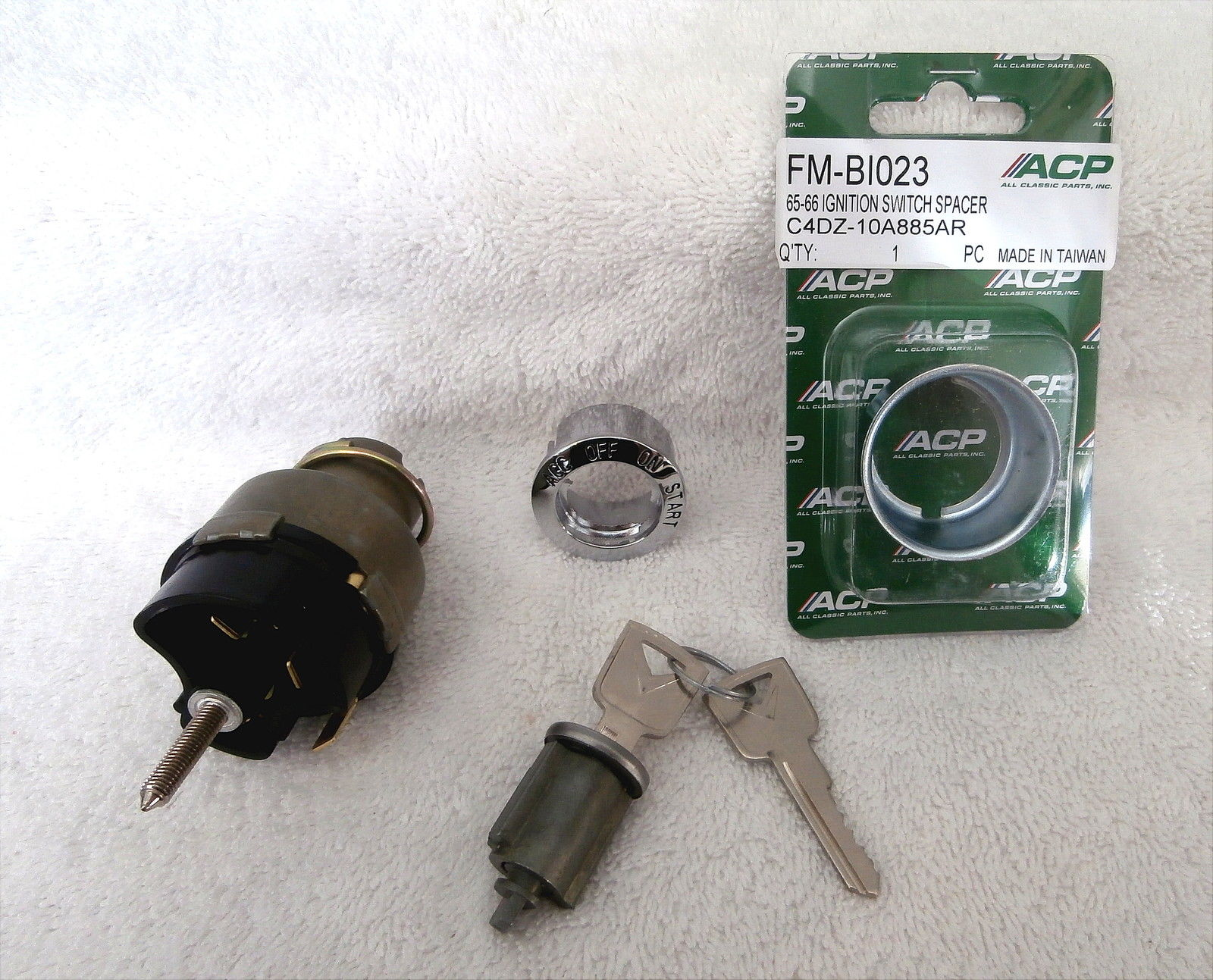 1965-66 Ford Mustang Ignition Switch, Bezel, Cylinder,Keys Complete Kit