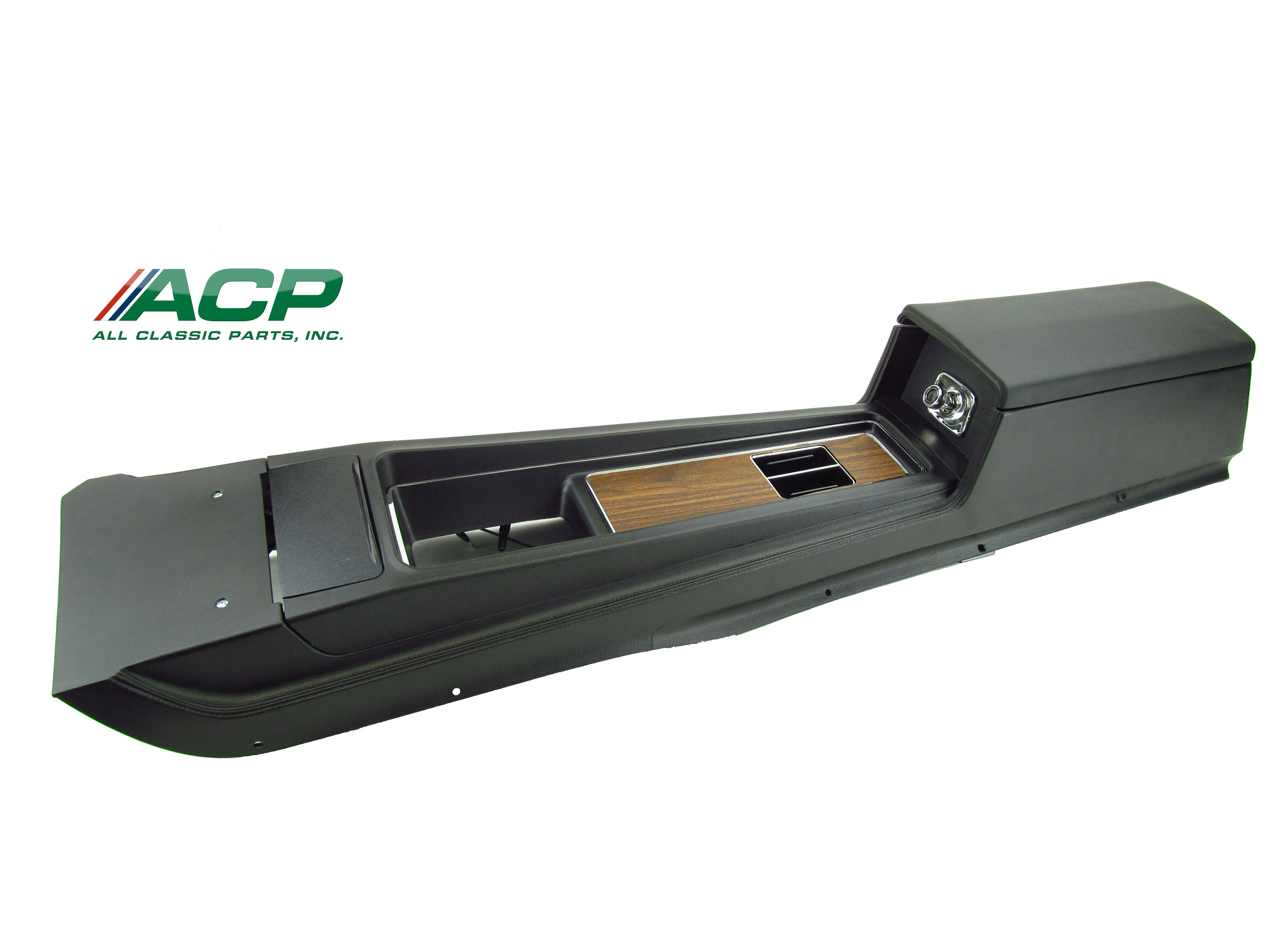 1969 Mustang Console Assembly  New Reproduction W Auto Transmission Black in Color W/ Wood Insert)