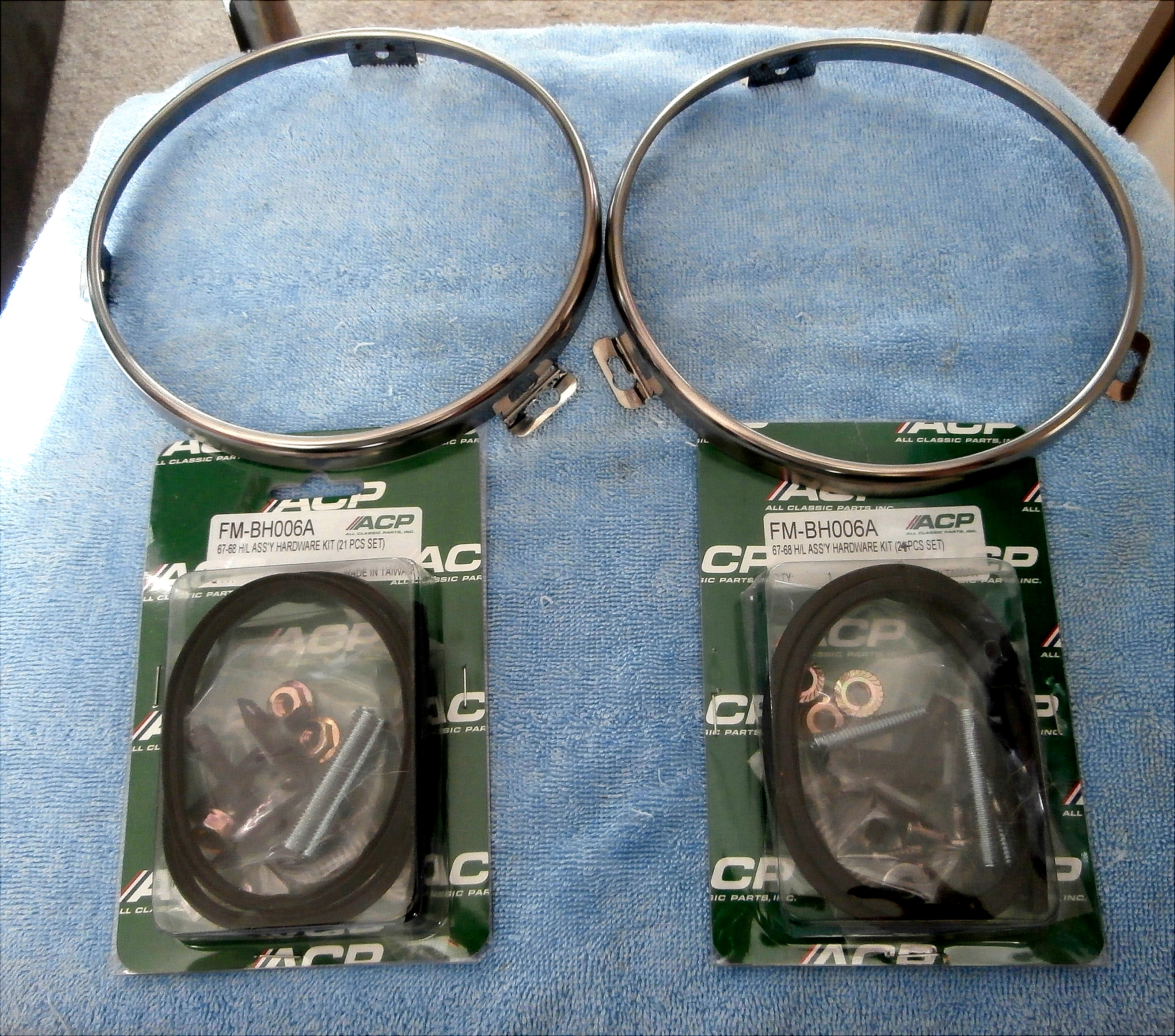 1967-68 Ford Mustang Head Light Rings, and Assembly Hardware Kit