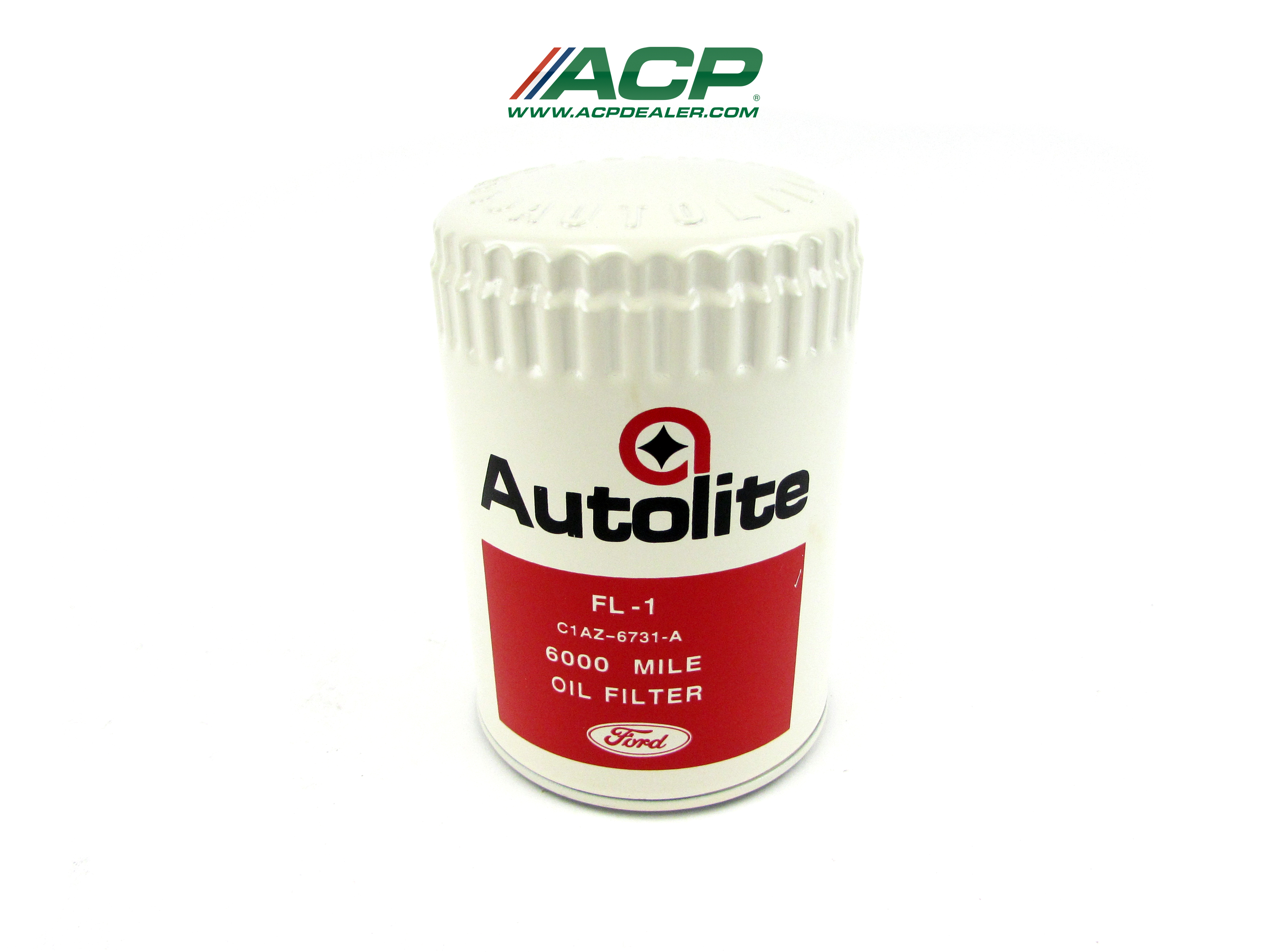 1967 Ford Mustang Autolite Ford Script, White/Red w/ Star Reproduction Oil Filter